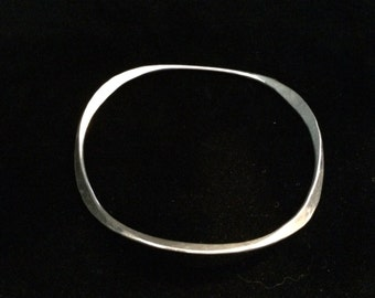 Sterling Silver Geometric Bangle
