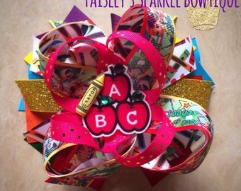 Back to school ABC inspired hairbow