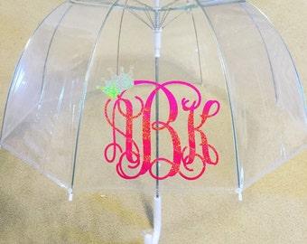 "Monogrammed Bubble Umbrella, 46"" Clear Dome Umbrella"