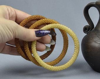 Set Womens Bracelet Beaded bangle Bead crochet bangle Beaded Bracelets for Women golden brown bracelet Girlfriend gift Christmas gift