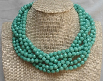 Turquoise  Necklace,Glass pearl necklace,6 Strands Pearl Necklace,Wedding Jewelry,18 Inches Necklace,Pearl Necklace,Bridesmaid necklace