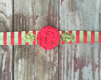 Christmas Headband - Fabric Flower Headband, Vintage Headband with Flower, Fabric Rosette Headband, Fabric Headwrap, Green and red Headband