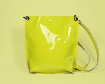 "Small Patent Leather Bag ""Monica Lemon"", Yellow Leather Crossbody, Small Leather Purse, Patent Leather Cross Body Handbag"
