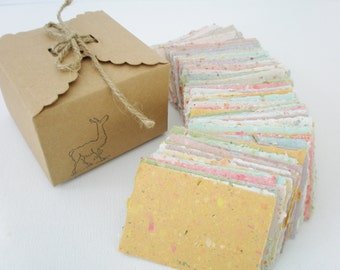 Box of Hand-made Recycled Paper. 120 Pieces for Fairy Notes, Love Notes, Lunch Box Notes, Craft etc..