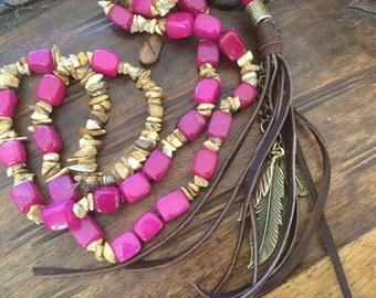 Tassel Necklace Feather Necklace Boho Chic Hand Knotted Necklace Women's Long Necklace Indie jewelry Hippie Artisan necklace Fushia necklace