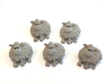 Sheep Lamb Buttons Jesse James Buttons Funny Farm Dress It Up Buttons Set of 5 Shank Back - 765 D