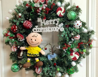 Christmas Wreath - Charlie Brown Christmas w/ lights