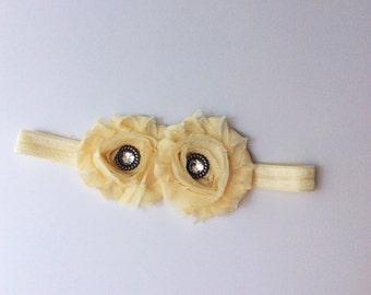 baby girl headband; ivory  baby girl headband; ivory headband; baby headband