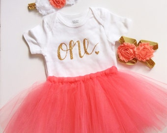 Coral baby girl birthday outfit- coral- birthday outfit - birthday collection