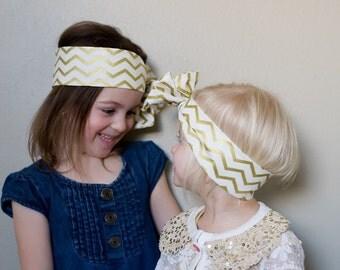 Baby headband ; gold chevron fabric head wrap; newborn headband; baby headband; toddler headband; adult headband; girl headwrap