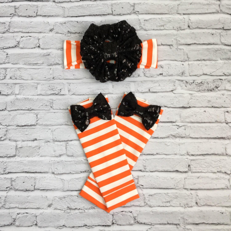 halloween,black sparkle floppy bow headwrap, and leg warmer set
