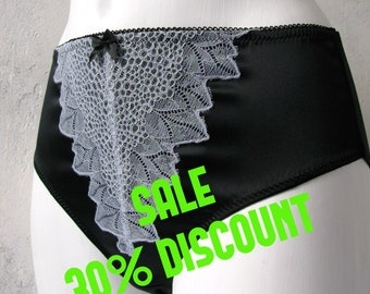 SALE , Elegant satin panties. Luxurious boudoir lingerie. Satin and lace panties luxury, Available in all sizes