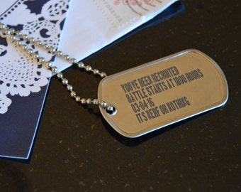 Custom Invitation Dogtags - Customized Dog Tags- With Optional Ball Chain - Shiny Finish