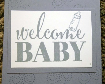 Handstamped Mini Card For Baby Gift in Lavender with Baby Bottle stamped on it