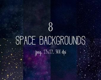 Space digital paper, cosmic backgrounds, galaxy, stars digital paper, night sky