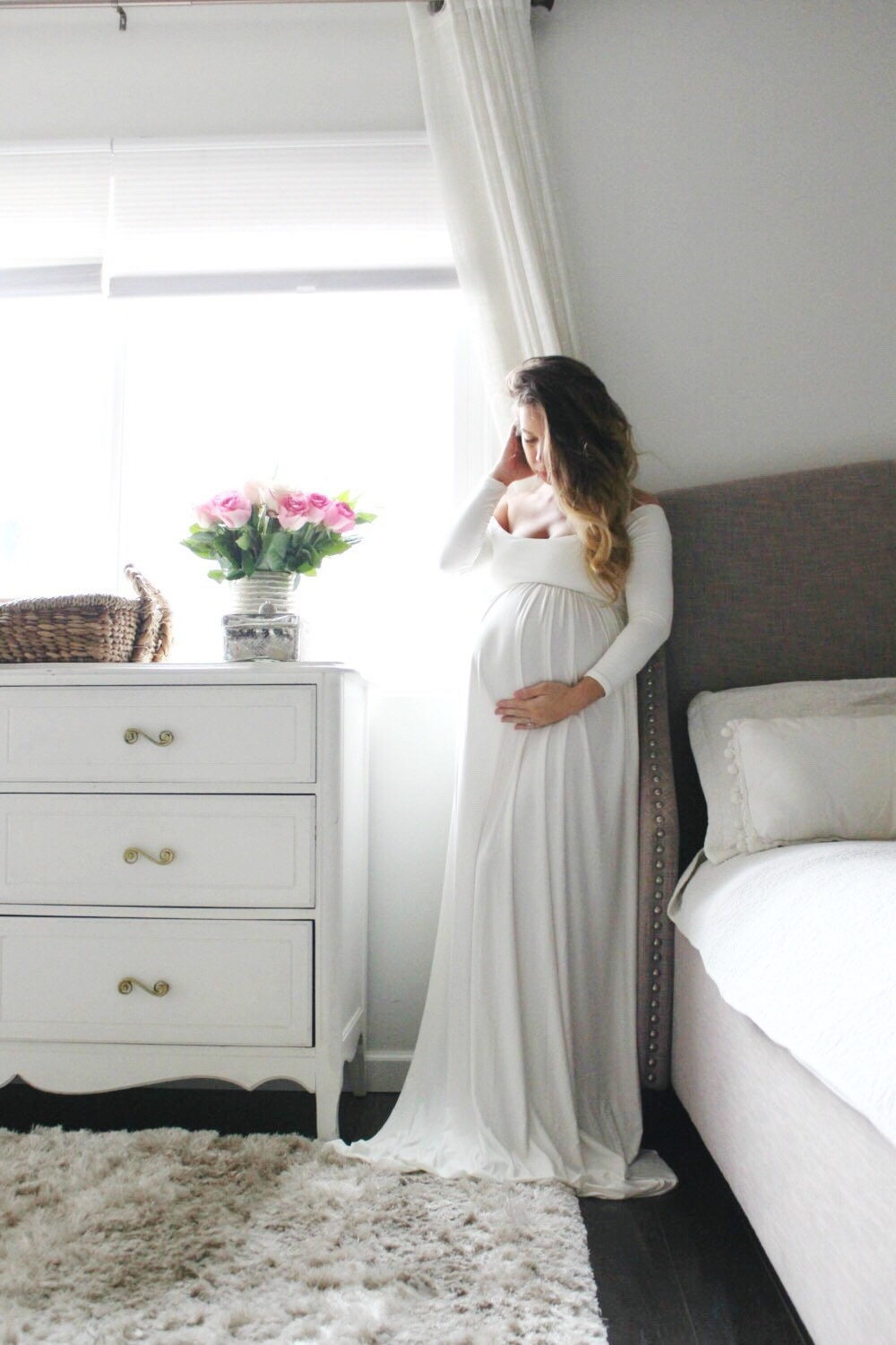 Baby Shower Maternity Dress ~ Long sleeve maternity gown baby shower dress
