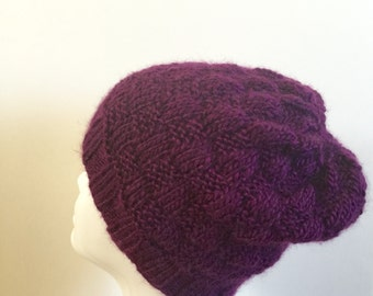 Hand knit purple hat, knit purple beanie, purple slouchy hat, ready to ship, hand knit gift.
