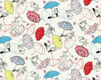 Radiant Girl Cats and Umbrellas Metallic Cotton Fabric by Lecien Fabrics