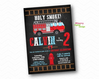 Firefighter Kids Birthday Party Invitation   Printed or Printable Invitations  
