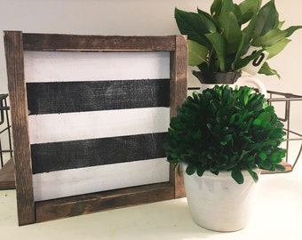 Striped Wood Sign