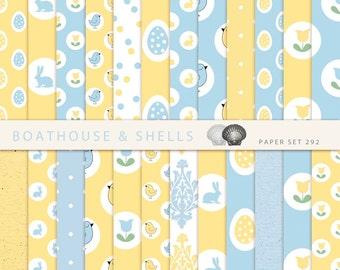 EASTER & SPRING in blue and yellow, Scrapbooking digital paper pack - 24 papers with birds/eggs/bunnies print - download - printable - 292