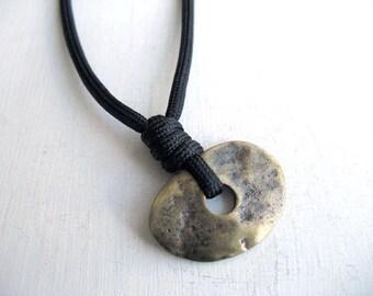 Simple Necklace, Stone Age, Minimal Disc Pendant, Modern Boho Necklace, Unique Mens, Bohemian Basic  Necklace