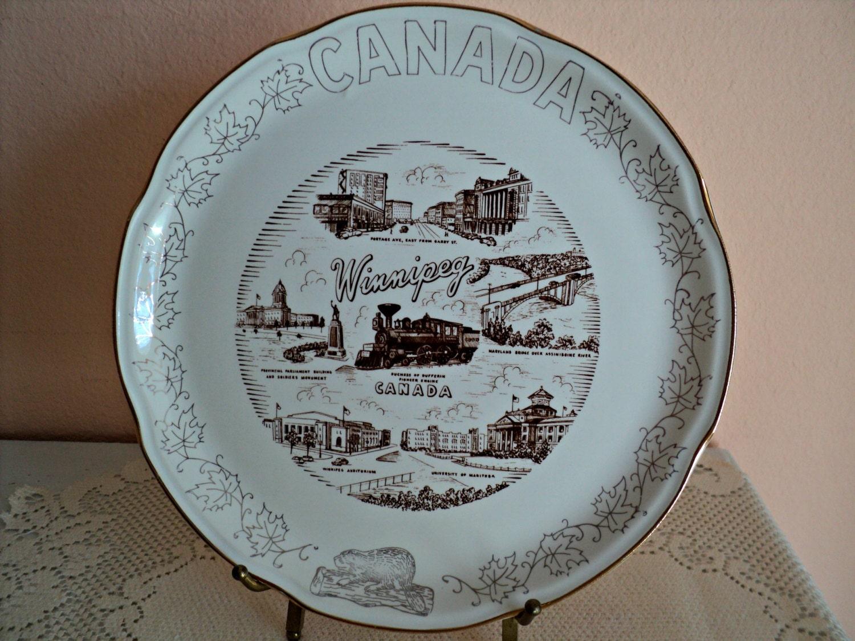 Winnipeg Manitoba Canada Souvenir Plate Decor Of Canada 22K