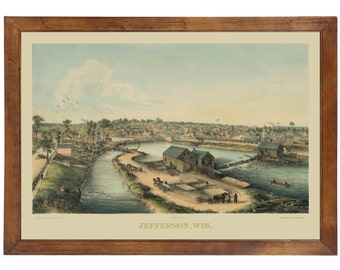 Jefferson, WI early 1800's Bird's Eye View; 24x36 Print from a Vintage Lithograph