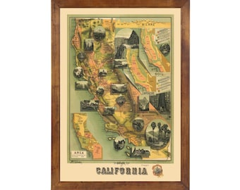 Map of California published in 1885; 24x36 Print on Premium Photo Paper
