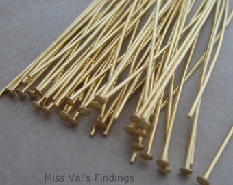 50 gold plated 4 inch headpins 21 gauge