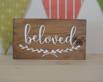 Beloved mini block, mini wood block, desk decoration, shelf decoration, Beloved sign, Beloved block