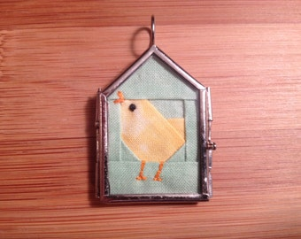 Tiny chick quilt block necklace