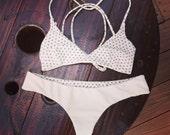 Reversible white cheeky bikini bottoms and strappy bralet top in black/white polka dot print - Sexy designer swimsuit - Bridal / honeymoon