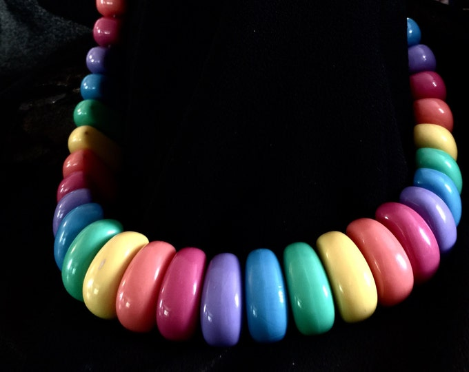 Vintage Rainbow Beaded Necklace