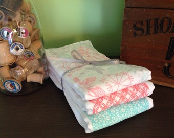 Burp Cloths coral and aqua, coral and teal, flowers
