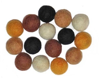 15mm Wool Felt Bead - pack of 15 -  NEUTRAL COLOR ASSORTMENT