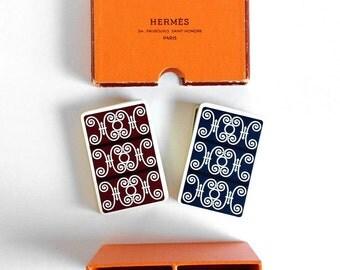 Hermes Playing Cards Set of 2 Decks in Original Holder Draeger Freres Paris