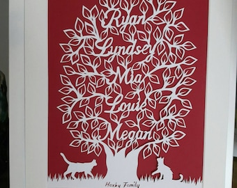 Personalised Family Tree cut Handmade and Hand Cut. Gift. Any colour and any names