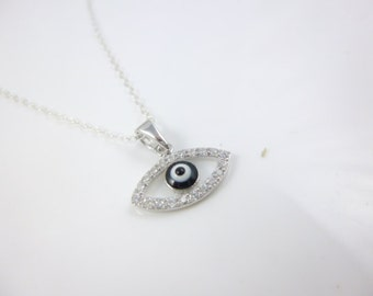 Evil Eye Necklace, Tiny evil eye pendant, Sterling Silver Evil Eye Necklace, Blue Evil Eye