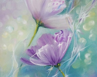 Flower oil painting ORIGINAL small flower painting, oil on canvas, 11*14 inches, Fine Art gallery quality