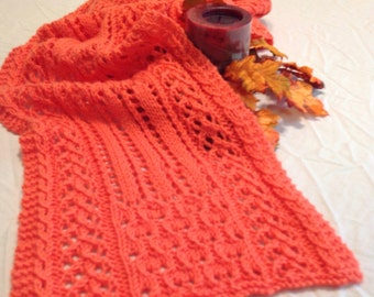 Intricate, hand knit lace scarf