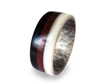Antler Men Ring with Wenge and Mahogany Wood Ring, Unisex Tricolor Ring