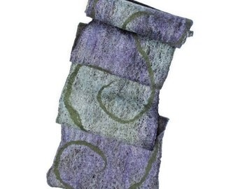 Green and Purple Scarf, Nuno Felted Wool and Silk Scarf, Purple and Green Wool Scarf, Merino Wool Scarf