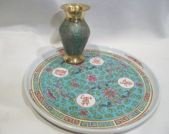 Turquoise Porcelain Asian Oriental Heavy Round Platter,Asian Plate,Chinese Plate,Asian characters