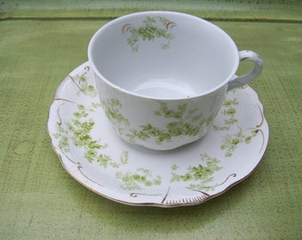 Vintage Alfred Meakin Teacup and Saucer White Green Gold