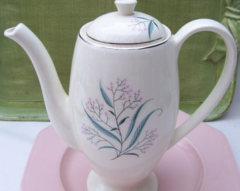 White Teapot Coffee Pot with Blue and Pink Wispy Wildflowers