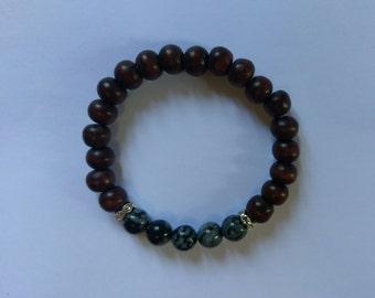 Handmade wood and stone bead bracelet.