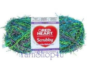 CAPRI Red Heart Scrubby Yarn, Dishcloth yarn, scratchy yarn, Green variegated scrubby yarn, Carpi scrubby yarn, ombre scrubby Bath scrubber