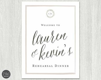Rehearsal Dinner Welcome Poster/Sign/ Rustic & Whimsical