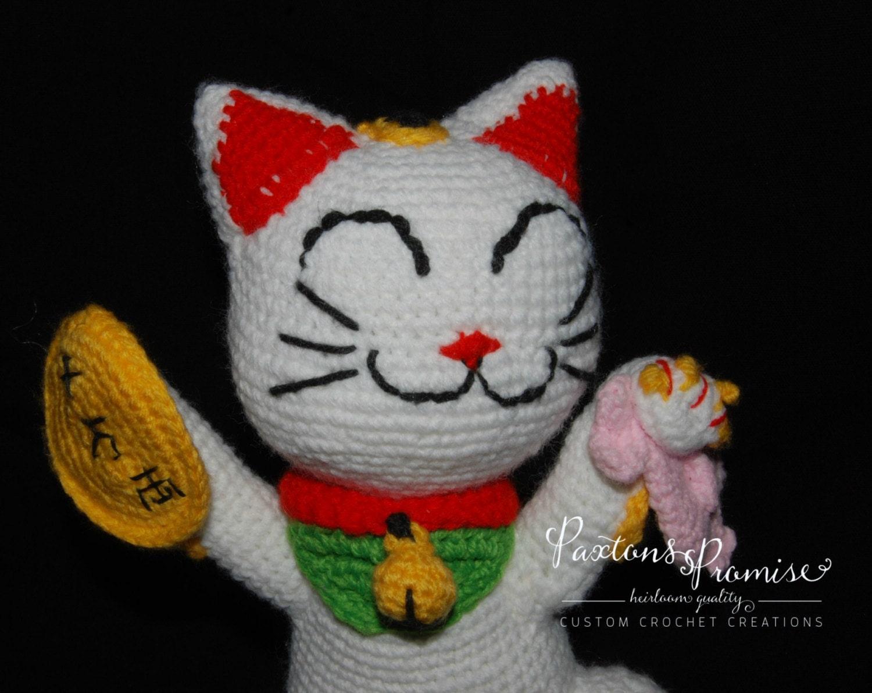 Maneki Neko Amigurumi Patron : Large Amigurumi Maneki-Neko Lucky Cat Crochet by ...